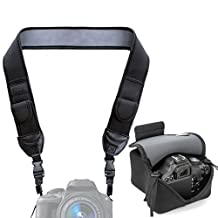 TrueSHOT Neoprene Black Camera Neck Strap and Camera Case with Accessory Storage Pockets - Works with Canon PowerShot SX410 IS , 5D Mark III , EOS 5DS and More Cameras