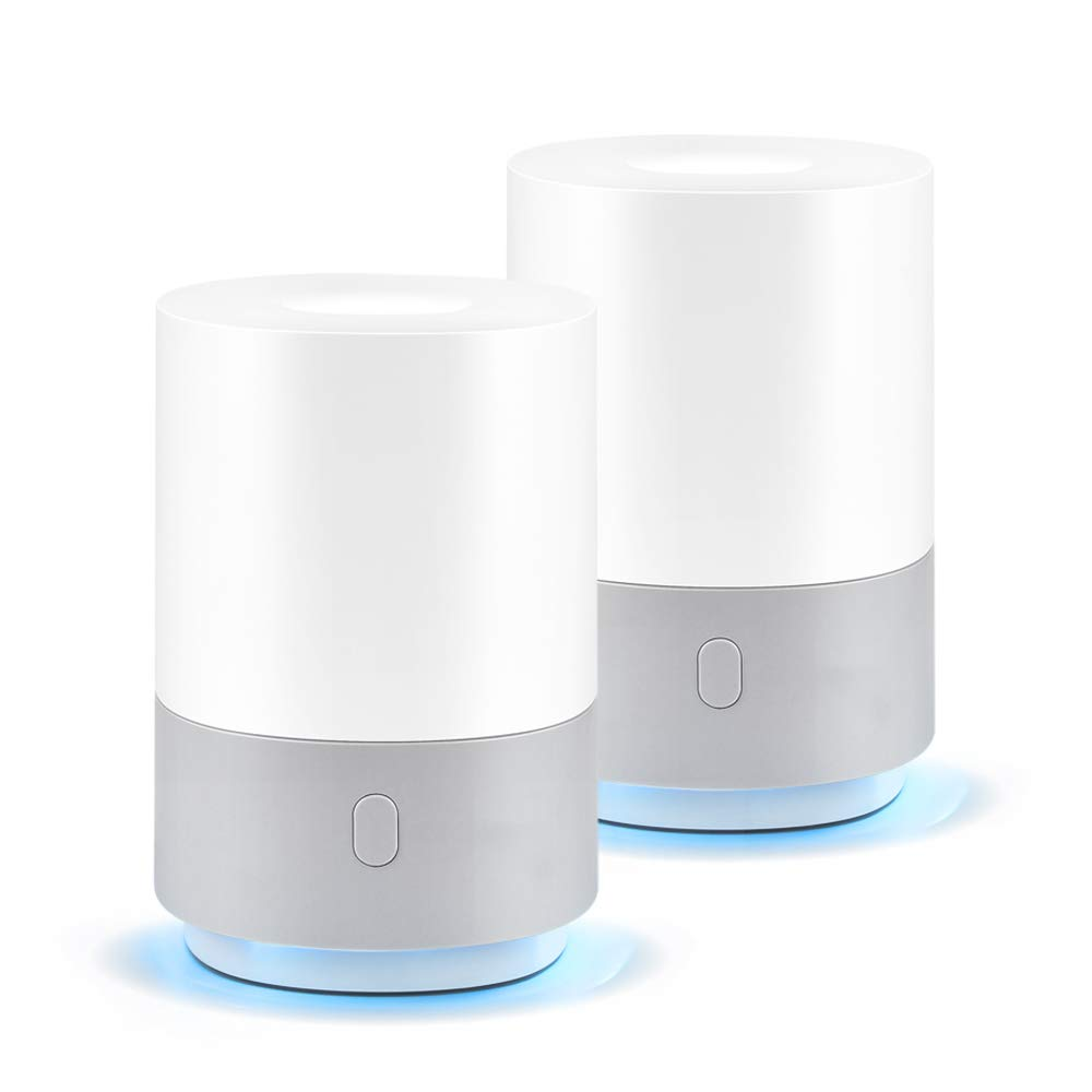 Ominihome 2 Pack 100ml Essential Oil Diffuser, Small Humidifiers for Bedroom, Aromatherapy Aroma Diffusers Ultrasonic USB Powered Cool Mist Humidifier with 7 Color LED Lights for Bedroom, Office, Baby