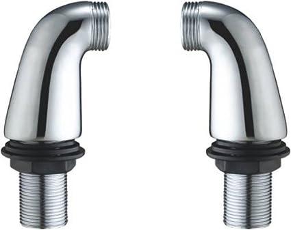 lot de 3 paires de tiges hauteur 85 mm chrome adaptateur coude pilier pieds pour un robinet melangeur de baignoire