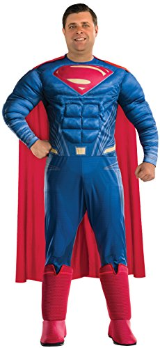 Superman Cosplay Costumes (Rubie's Men's Batman v Superman: Dawn of Justice Deluxe Superman Plus Size Costume, Multi, One Size)