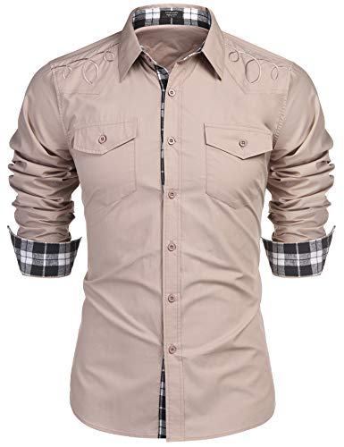(COOFANDY Men Casual Outdoor Cotton Workwear Spring Summer Logger Dress Shirts Khaki)