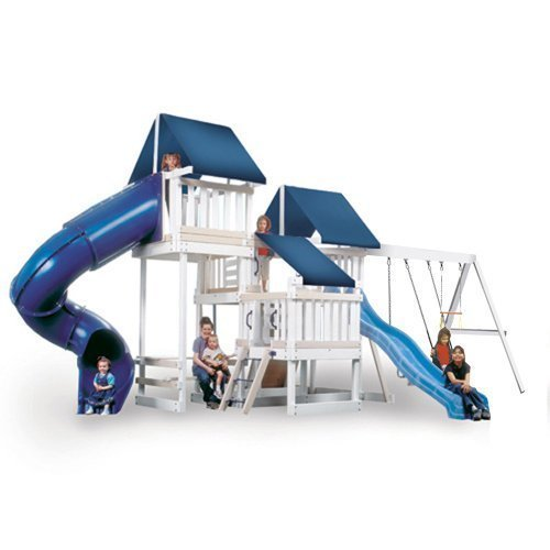 CONGO Monkey Playsystem #4 with Swing Beam - White and Sand Low Maintenance Play Set