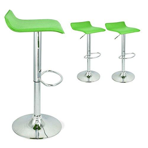 Set of 2 Green Swivel Modern Bombo Chair Pub Bar Stool Barstool Chrome Lot By Allgoodsdelight365
