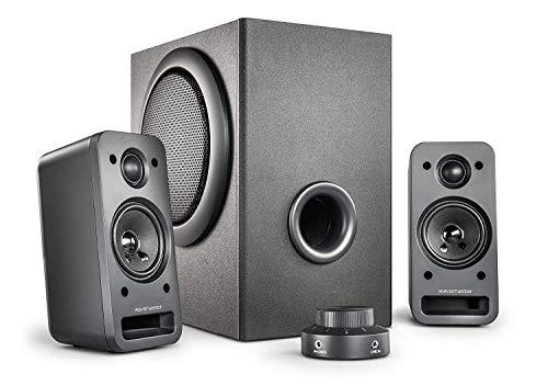 wavemaster MX3+ 2.1 luidsprekersysteem (50 Watt) actieve boxen voor TV/Tablet/Smartphone/PC zwart (66503)