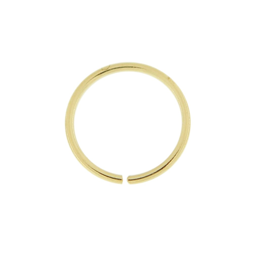 - 1//4 Inch 0.6MM Length Seamless Continuous Nose Hoop Ring 6MM PiercingPoint 14 Karat Solid Gold 22 Gauge