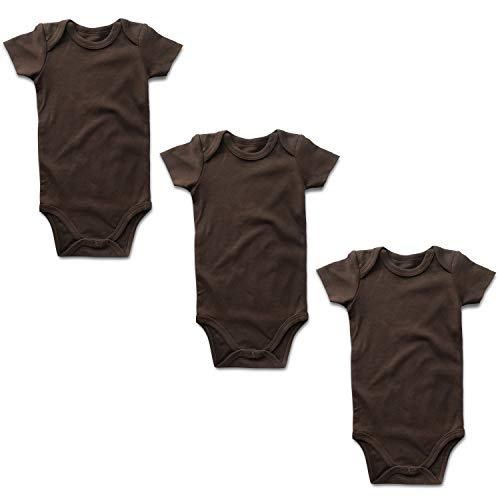 OPAWO Baby Bodysuit 3-Pack Neutral Solid Color for Unisex Boy Girl Newborn - 24 Months (18-24 Months, Brown Short Sleeve) -