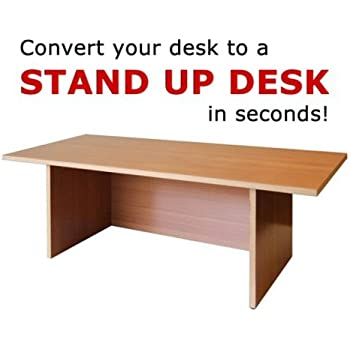 Miracle Desk Stand Up Desk - Convert a Regular Desk to Standing with Ease - Perfect for executives, professionals, teachers, and home offices (Golden Beech, Regular)