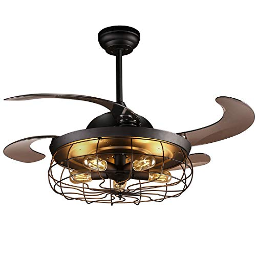reiga 44 inch Black Retractable Blade Caged Ceiling Fan with Light Kit and Remote Control, Noiseless Motor ()