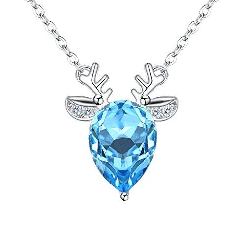 EleQueen 925 Sterling Silver CZ Teardrop Deer Head Pendant Necklace Aquamarine Color Made with Swarovski Crystals