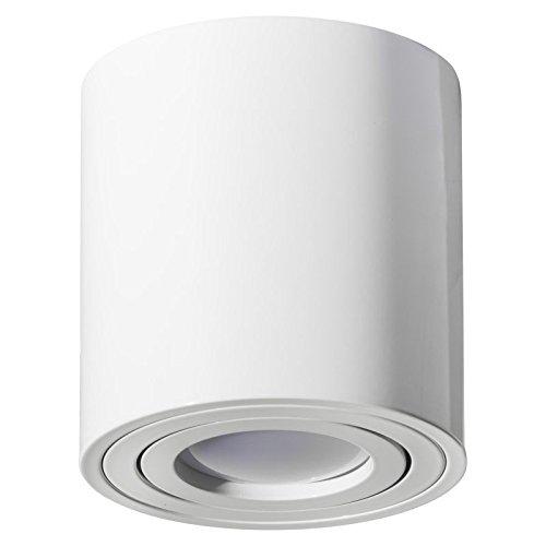 MILANO GU10 230V LED Halogen [rund, weiss, schwenkbar] Aufbauleuchte Deckenlampe Würfelleuchte Aluminium Spot OHNE LEUCHTMITTEL