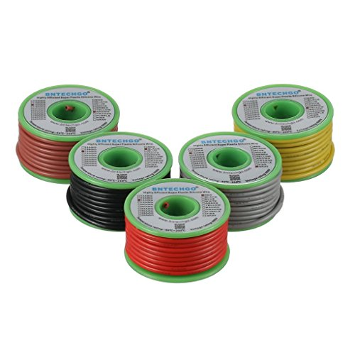 BNTECHGO Ultra Flexible 16 Gauge Silicone Wire Spool 5 Color Red Black Yellow Brown Gray High Resistant 200 deg C 600V Electronic Wire 16 AWG Stranded Wire 252 Strands Tinned Copper Wire Hook Up