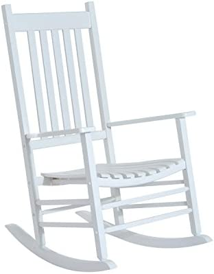 Outsunny Versatile Wooden Indoor Outdoor High Back Slat Rocking Chair – White