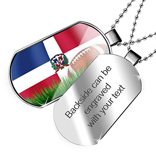 (NEONBLOND Personalized Name Engraved Football with Flag Dominican Republic Dogtag)