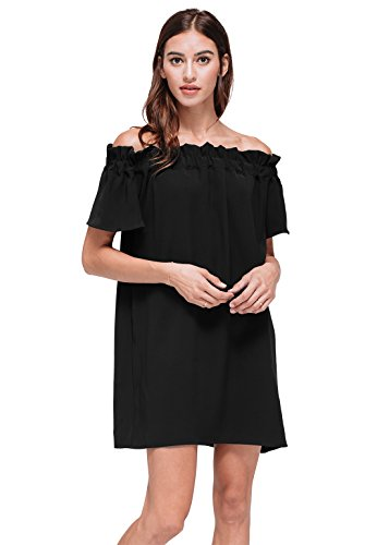 Pleione Off Shoulder Pleated Mini Shift Short Sleeve Summer Dress