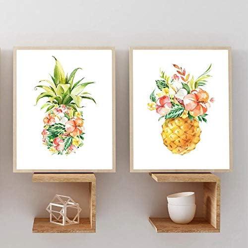 花とパイナップル水彩キャンバス、植物の花のポスターと版画の自然を描く、壁の写真家の装飾50x70cmx2フレームなし