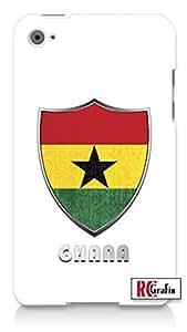 Premium Ghana Flag Badge Direct UV Printed Apple ipod 4 Quality Hard Case Snap On Skin for ipod 4/4G (WHITE)