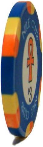 25 $3 Nile Club 10 Gram Ceramic Casino Quality Poker Chips