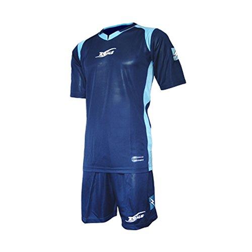 Zeus Herren Kinder Set Trikot Shirt Hosen Klein Armel Kit Fußball Hallenfußball Kit Tomaz Blau Sky (XL)