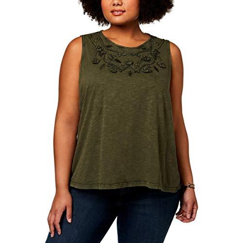(Style & Co. Womens Plus Braided Swing Tank Top Green 0X)