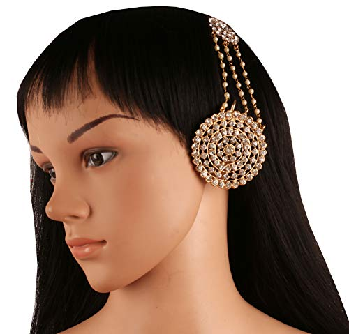 NEW! Touchstone Maharani Manikarnika Awesome Kangana Ranaut Bollywood Fame Exclusively Crafted White Rhinestone Faux Pearls High Class Fashion Designer Jewelry Large Earrings In Gold Tone - Pearl Designer Bangle