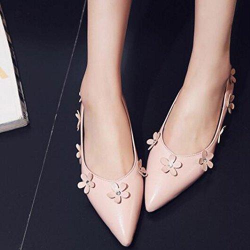 Easemax Fleur À La Mode Des Femmes Bout Pointu Bas Top Slip Sur Les Chaussures À Talons Bas Hauteur Chaussures Rose
