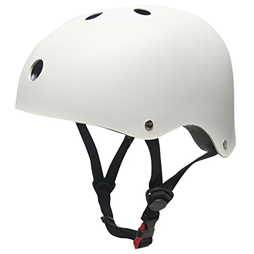 MAXNON Kinderhelm Jugend BMX Bike Skater Helm Fahrradhelm Schutzhelm Kinder Mädchen Sicherheit Verstellbar Helm (S, Weiß)