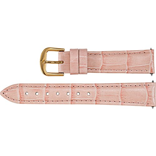 Ladies Regular 12mm Pink Alligator Grain Leather Padded Watch Strap