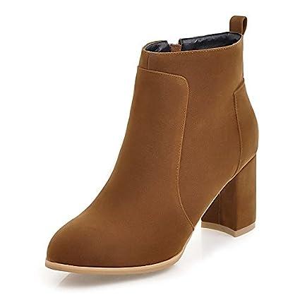 ZHZNVX HSXZ Zapatos de Mujer Moda otoño Invierno Polar Botas Botas Bota Null Chunky talón Puntera Redonda Botines/Botines / para Office\Carrera Vestido,Gris ...