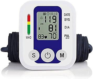 Monitor de Presión Arterial, Monitor Electrónico de Presión Arterial Capacidad de Memoria de 2 x 99 para Uso Doméstico con Detección de Pulso Arrítmico, Función de Voz, Pantalla Grande(Azul)