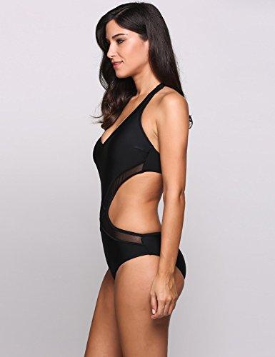cooshional Traje de baño de una pieza bikini atractivo ropa de baño de las mujeres Negro