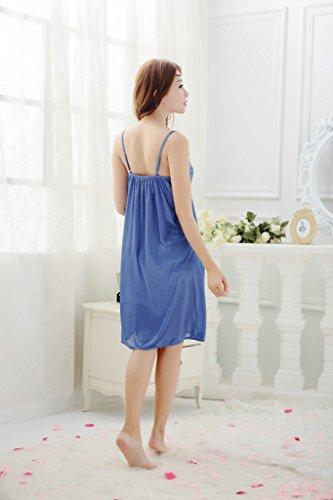 YICHUN corto camisón transparente de la mujer sin mangas pijamas encaje nightgrown talla única Azul
