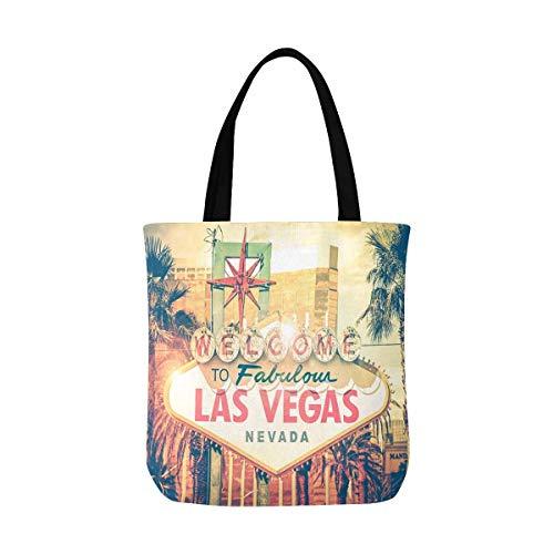 InterestPrint Vintage Las Vegas Boulevard Entrance Sign City View Canvas Tote Bag Tote Shopping Bag Washable Grocery Tote Bag, Craft Canvas Bag for Women Men Kids