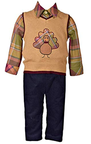 Bonnie Jean Boy's Tan Mock Top Turkey Pant Set (6 months)