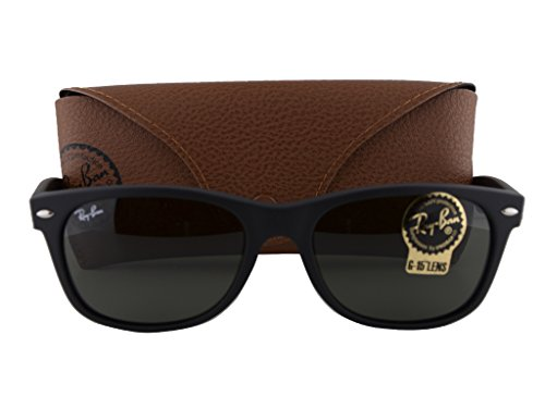Ray Ban RB2132 New Wayfarer Sunglasses Black w/Crystal Green Lens 622 RB - Ban Sunglasses Ray Closeout