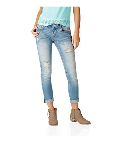 Aeropostale Womens Kylie Boyfriend Fit Jeans, Blue, 00 Regular
