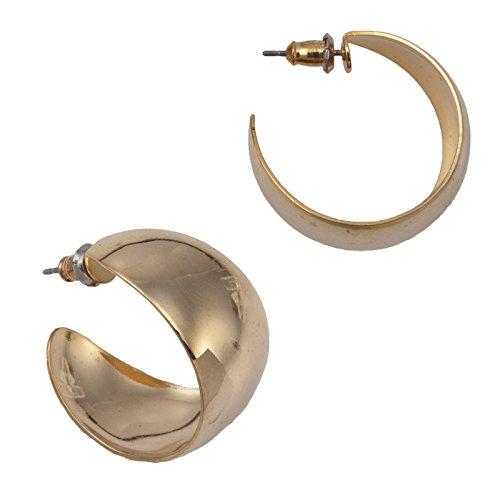 - Gold Tone Shiny Hoop Classic Plain Huggie Pierced Earrings 7/8