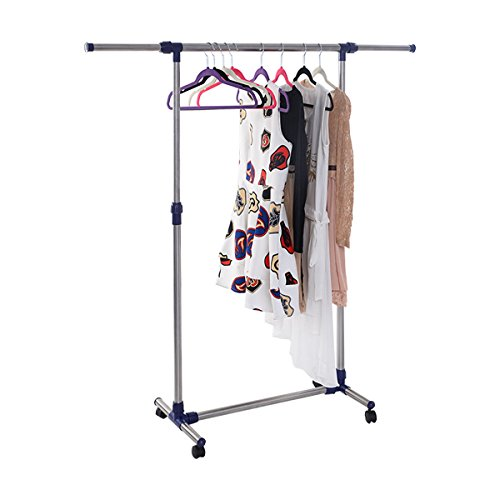 MasterPanel - HEAVY DUTY ROLLING ADJUSTABLE PORTABLE CLOTHES HANGER GARMENT RACK RAIL #TP3334 (Rav4 2001 Roof Rack Cover compare prices)
