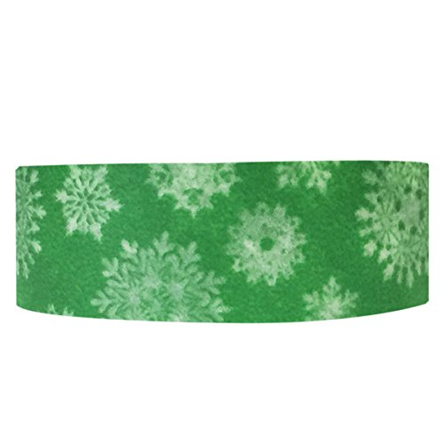 Wrapables Colorful Patterns Japanese Washi Masking Tape, Snowflakes, Green