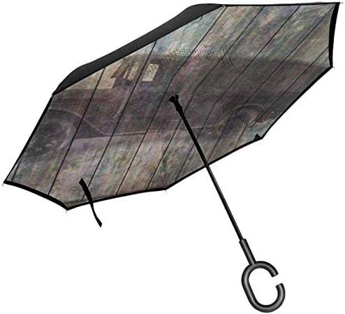 ビンテージ車の影と抽象的なグランジ素朴な厚板バーン ユニセックス二重層防水ストレート傘車逆折りたたみ傘C形ハンドル付き