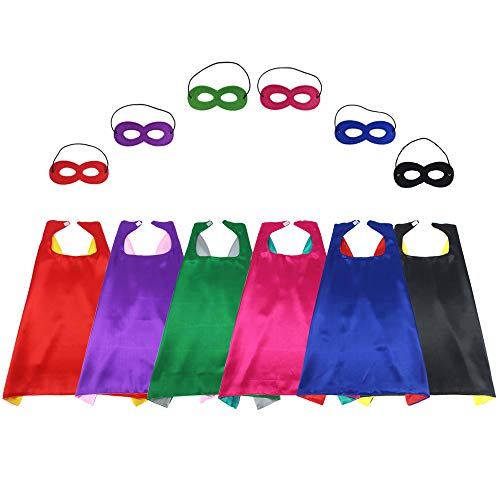 Children's Superhero Capes Masks Party Costumes Set Dual Color Boys Girls' Role Cosplay Fancy Dress,6 Set