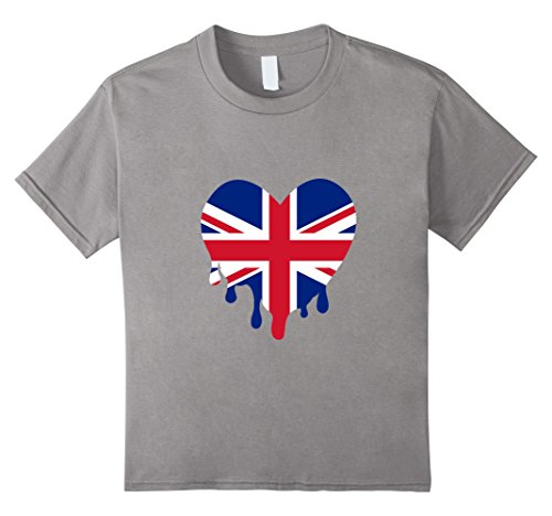 [Kids British Flag Colors Dripping Heart T-Shirt Britain 10 Slate] (Bat Mitzvah T-shirts)