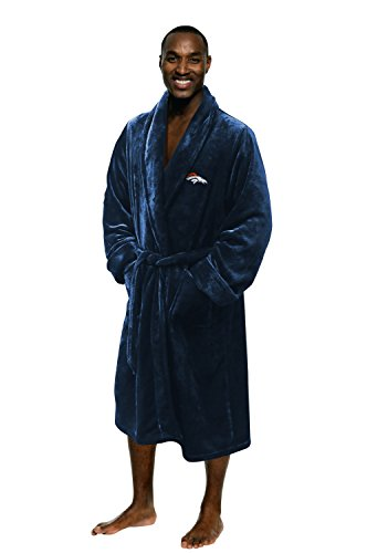 (Denver Broncos Official NFL Large/X-Large Silk Touch Men's Bathrobe, Football Sports Themed, Team Logo)