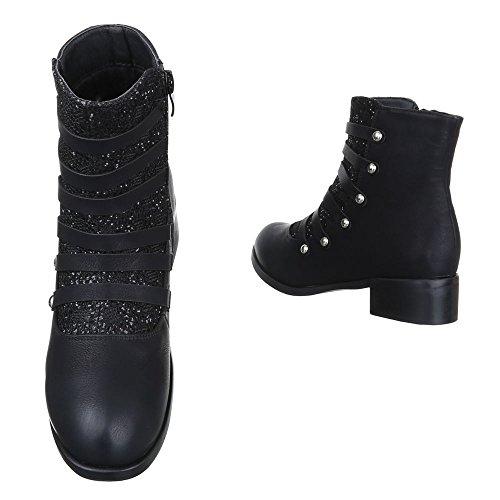 Ital-Design Komfort Stiefeletten Damen Schuhe Schlupfstiefel Blockabsatz Leicht Gefütterte Reißverschluss Stiefeletten Schwarz