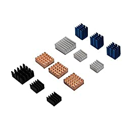 Nrthtri smt 12pcs Copper/Aluminum Heatsink Cooling Cooler Adhesive Fit for Raspberry Pi 3B Board