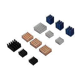Nrthtri smt 12pcs Copper/Aluminum Heatsink Cooling Cooler Adhesive Fit for Raspberry Pi 3B Board