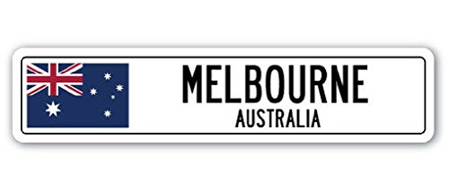 Melbourne Australia Street Sign Australian Flag City Country Road Wall Gift 2PCS (Party City Melbourne)