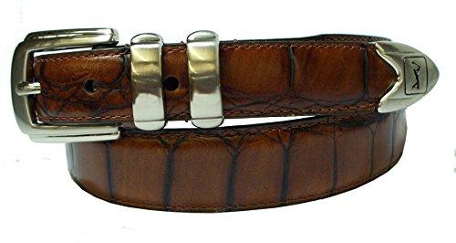 PGA TOUR Men's Italian Gator Grain Belt,Brown,38 - Reptile Buckle Belt