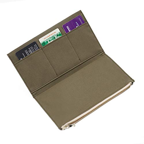 - Moterm Canvas Zipper Pocket for Travelers Notebook, 1 Insert Pouch Refill for TN Accessories Standard Size Paper Card Holder Storage Bag (Olivegreen)