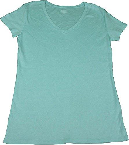 Kirkland Signature Ladies Premium Pima Cotton V-Neck T-Shirts (Large, Icy Morning) Pima Cotton V-neck Tee