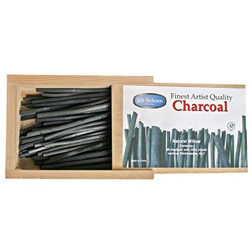 Sticks Charcoal (Yarka Natural Willow Non-Toxic Medium Soft Round Thin Charcoal Stick, 4 in, Black, Pack of 50)